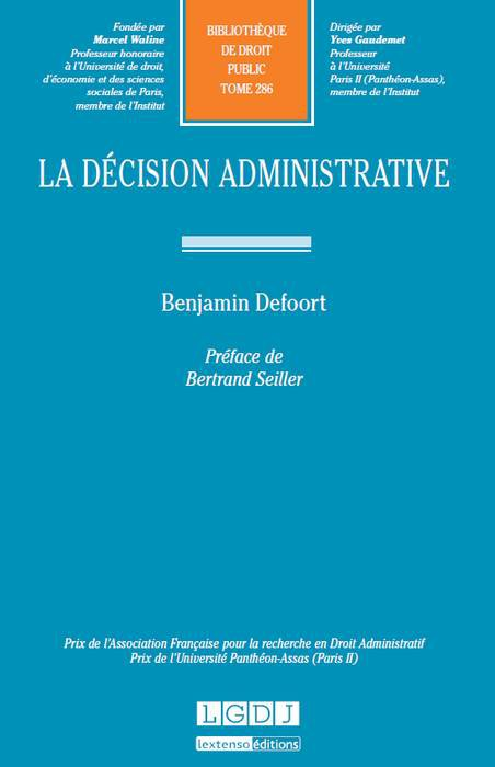 DEFOORT Benjamin, La décision administrative