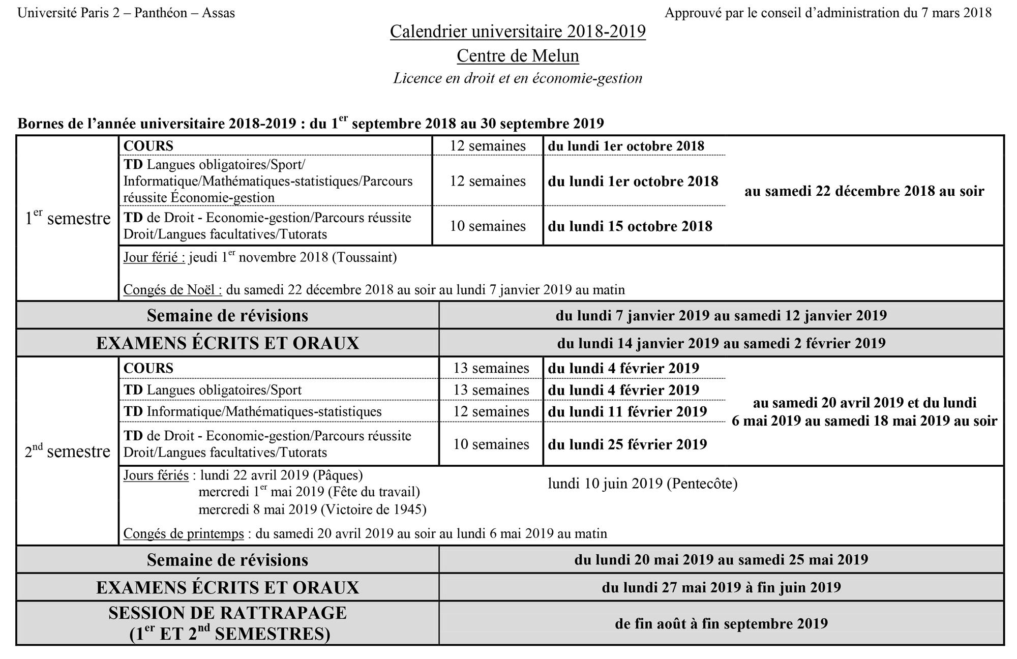 Calendrier universitaire 2018-2019 Licence en droit et en économie-gestion