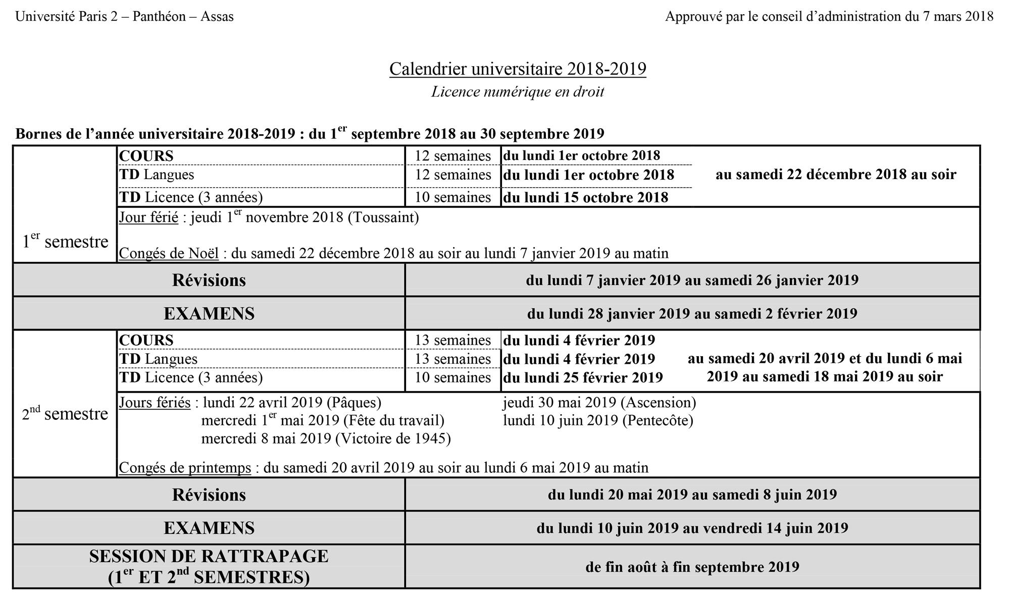 Assas Calendrier Universitaire.Calendrier Universitaire 2018 2019 Universite Paris 2