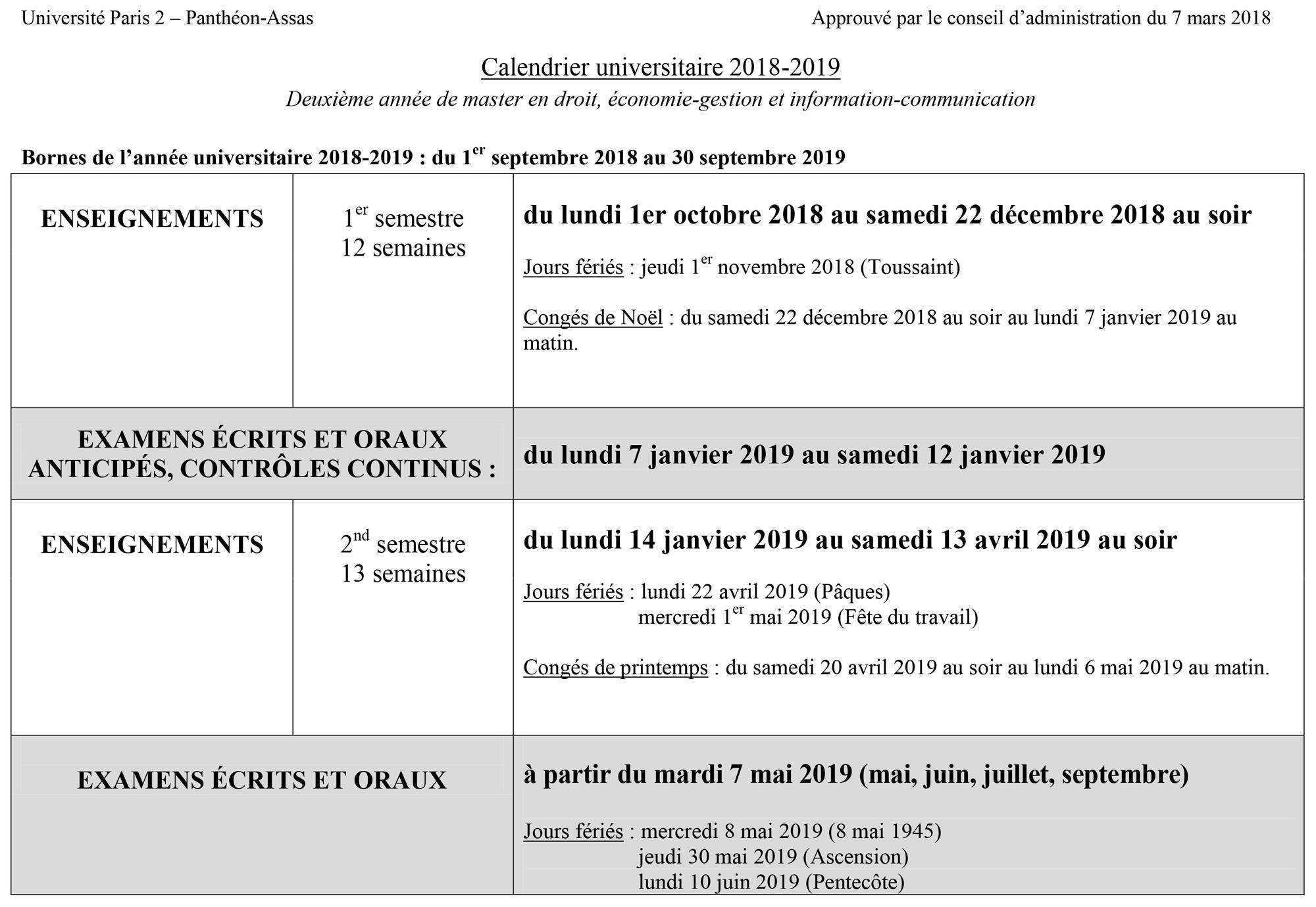Calendrier universitaire 2018-2019 Deuxième année de master en droit, économie-gestion et information-communication
