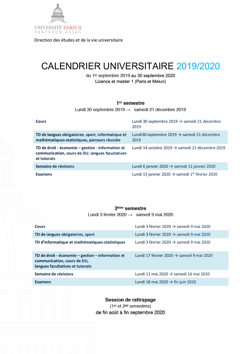 Calendrier universitaire 2019-2020 licence et master 1