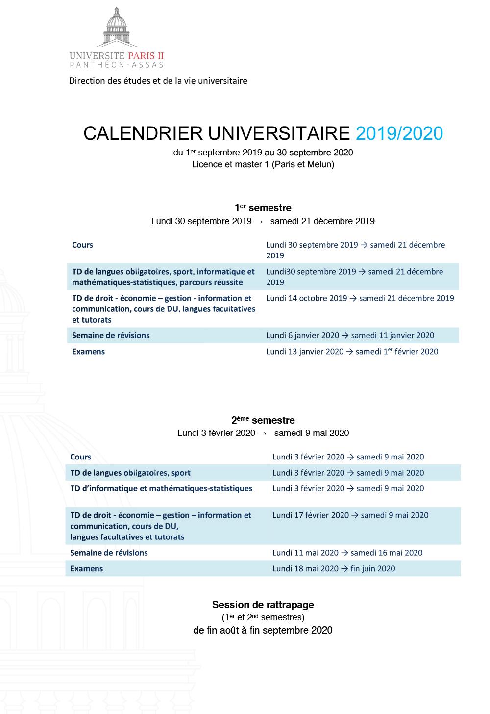 Calendrier universitaire 2019-2020 licence et master 1