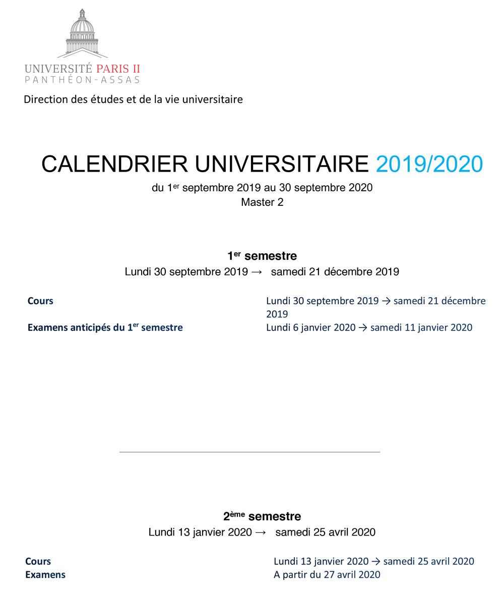Calendrier universitaire 2019-2020 master 2