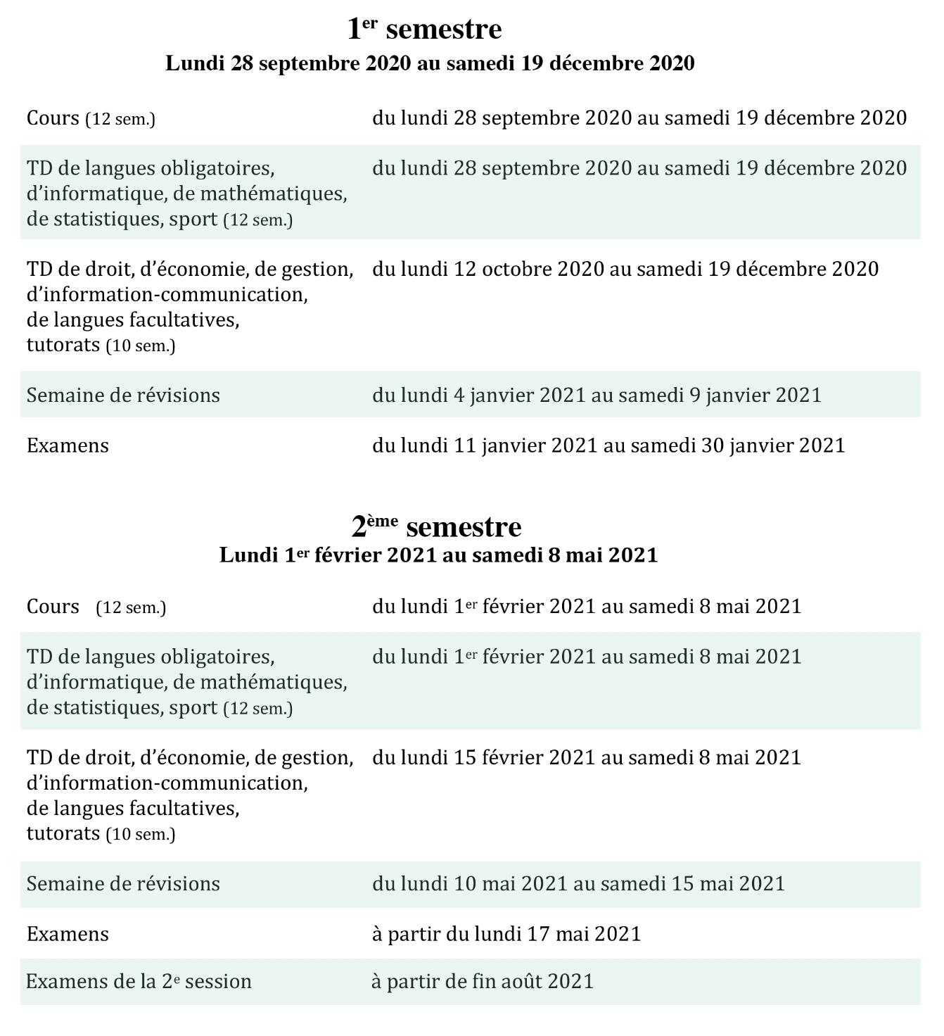 Calendrier universitaire | Université Paris 2 Panthéon Assas
