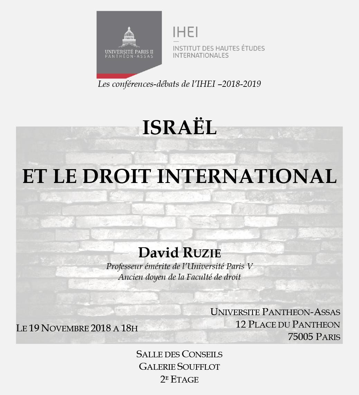 Affiche de la conférencede l'IHEI du 19 novembre 2018