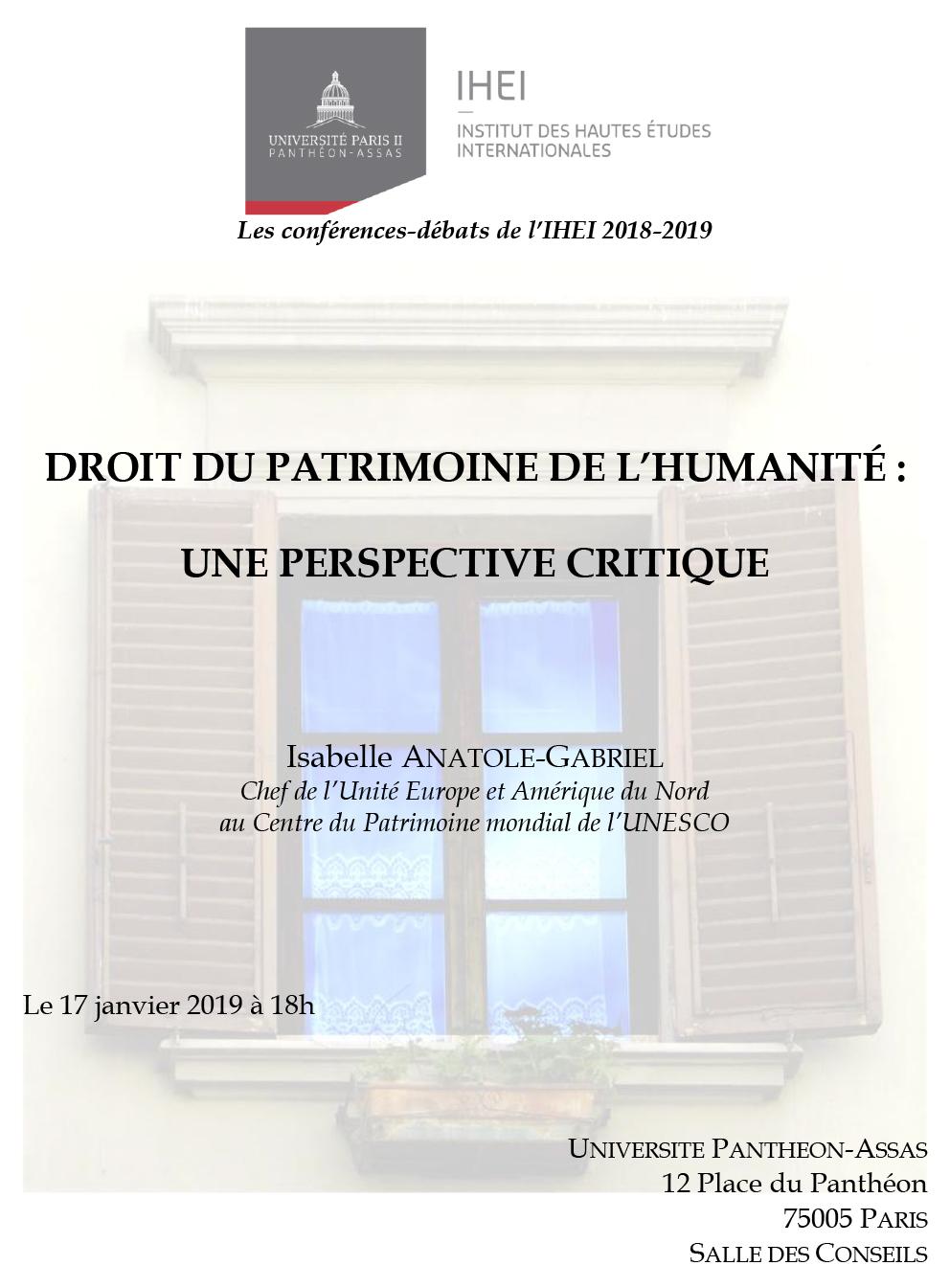 Affiche de la conférence de l'IHEI du 17 janvier 2019