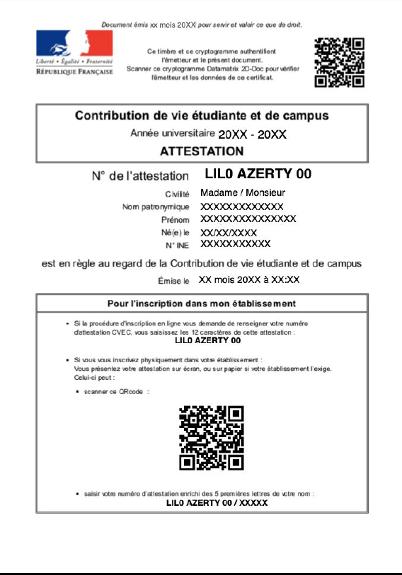 Exemple d'attestation CVEC