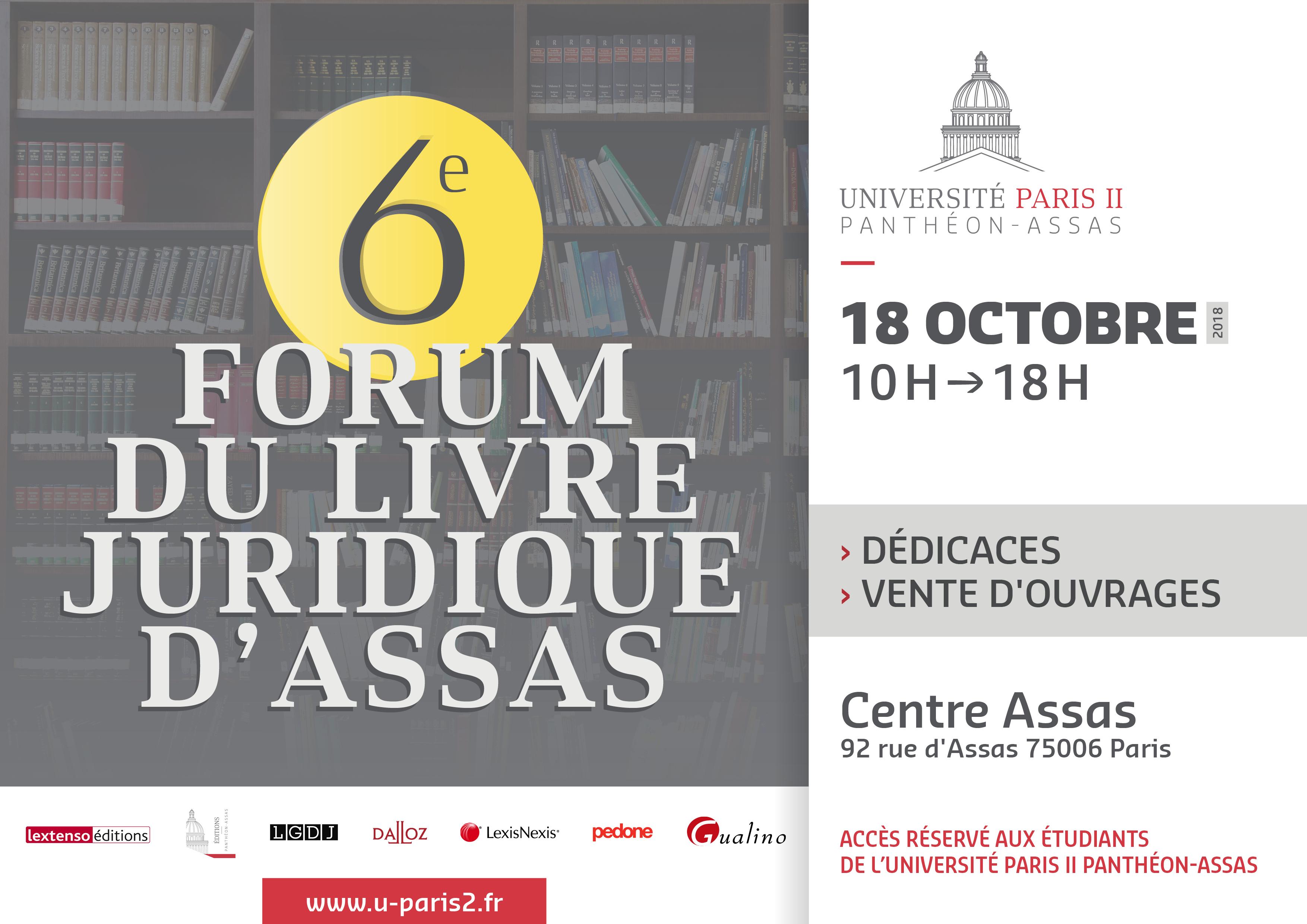 6e édition du forum du livre juridique au centre Assas