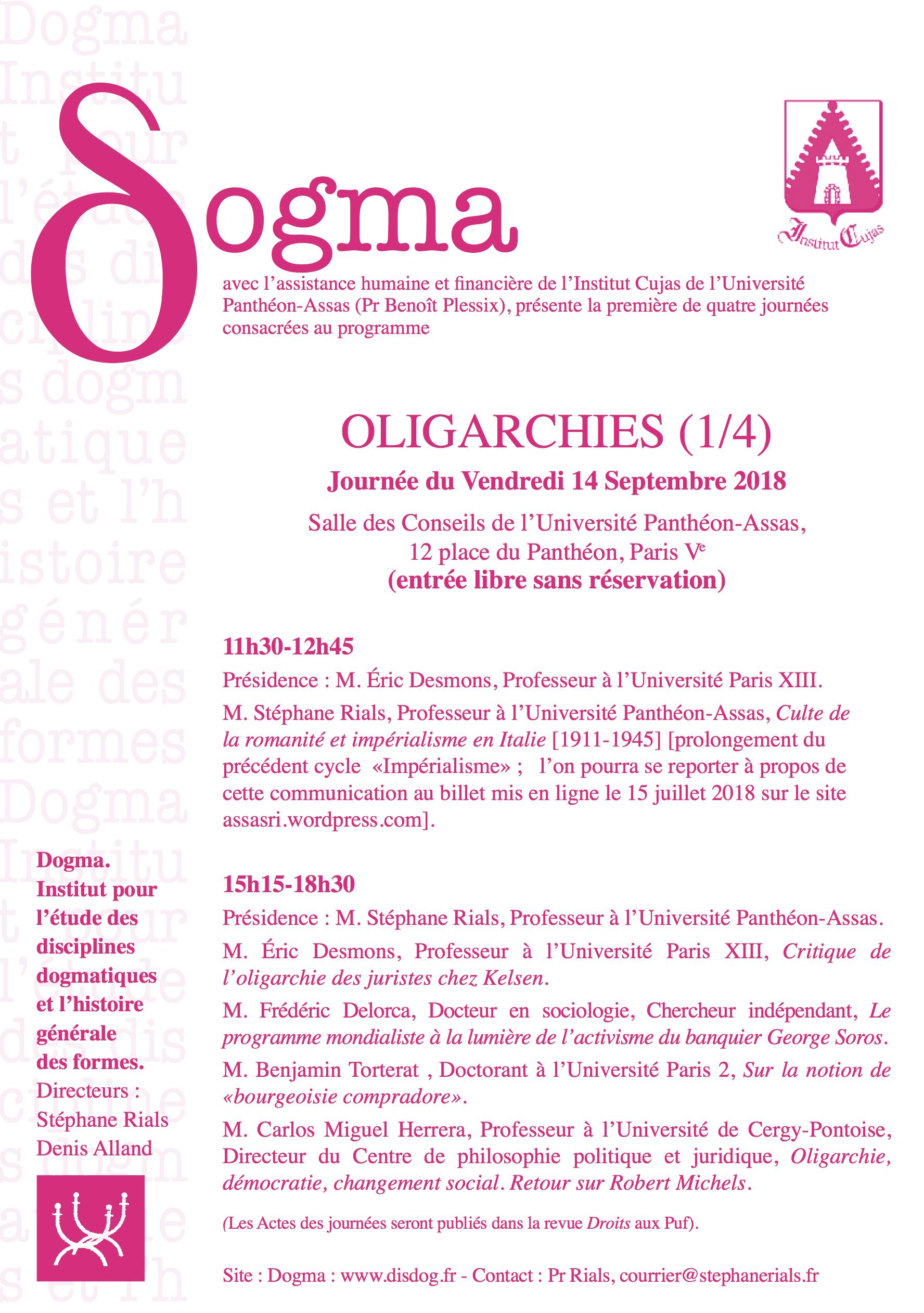 Affiche Journée d'étude Oligarchies 1/4
