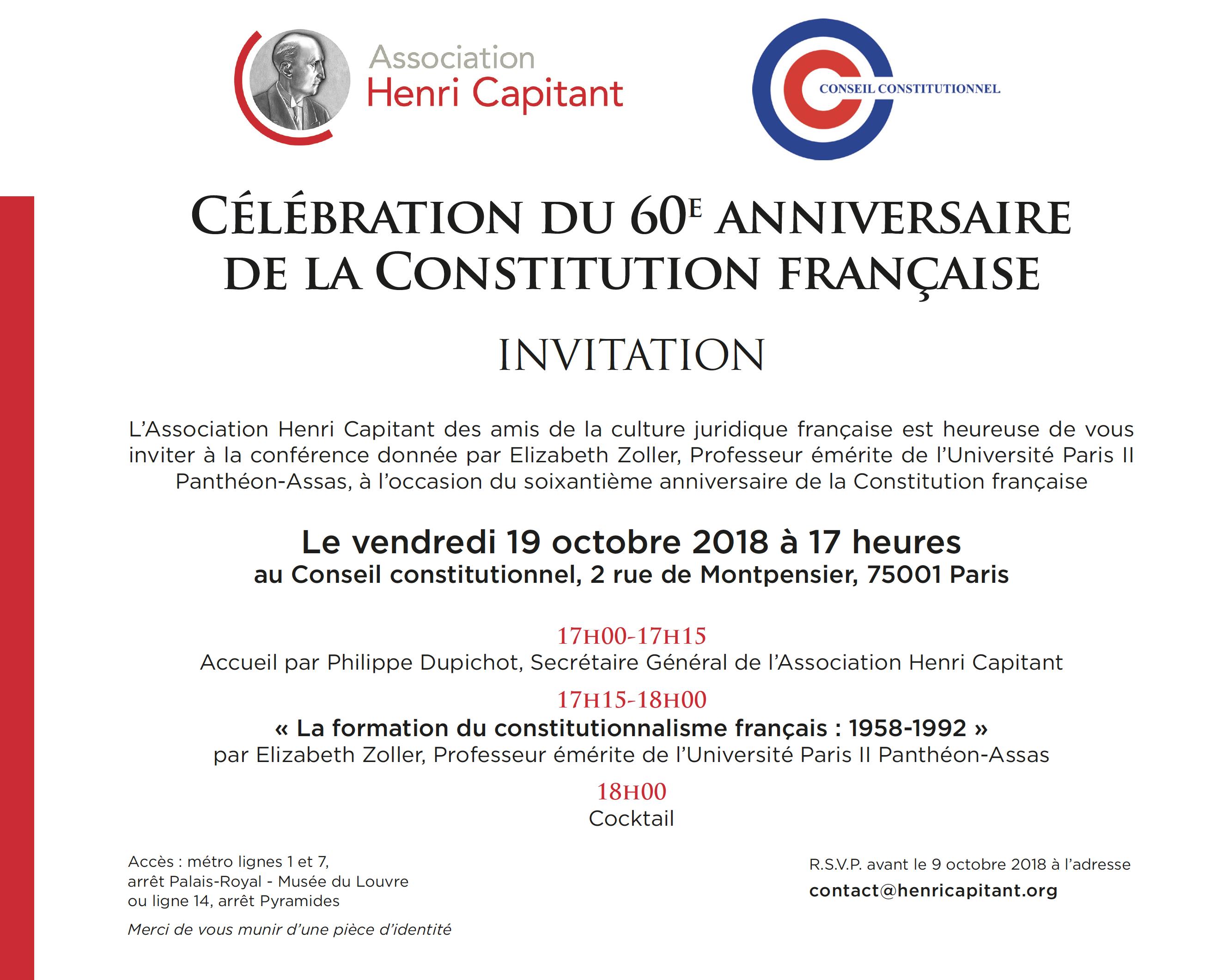 Invitation 60e anniversaire de la Constitution
