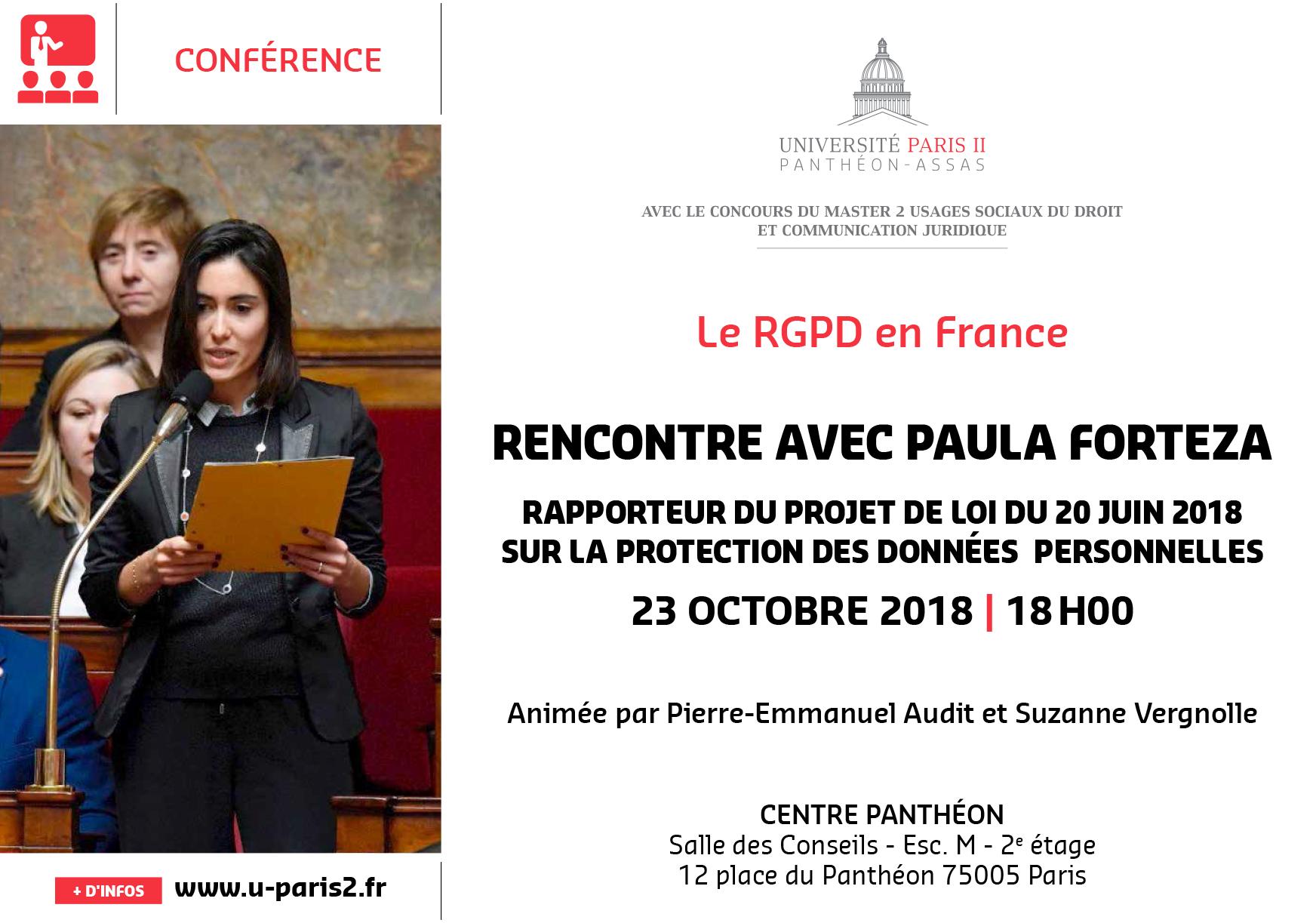Affiche - Le RGPD, rencontre avec Paula Forteza