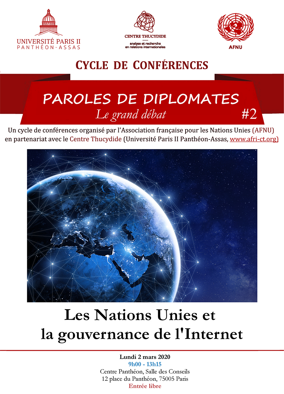 Affiche de la conférence « Les Nations Unies et la gouvernance de l'Internet »