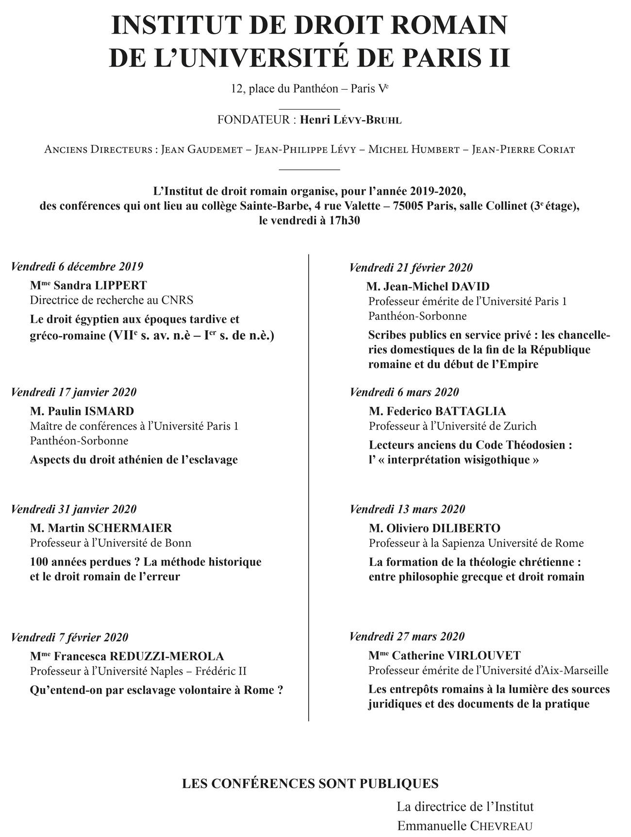Programme des conférences de l'Institut de droit romain
