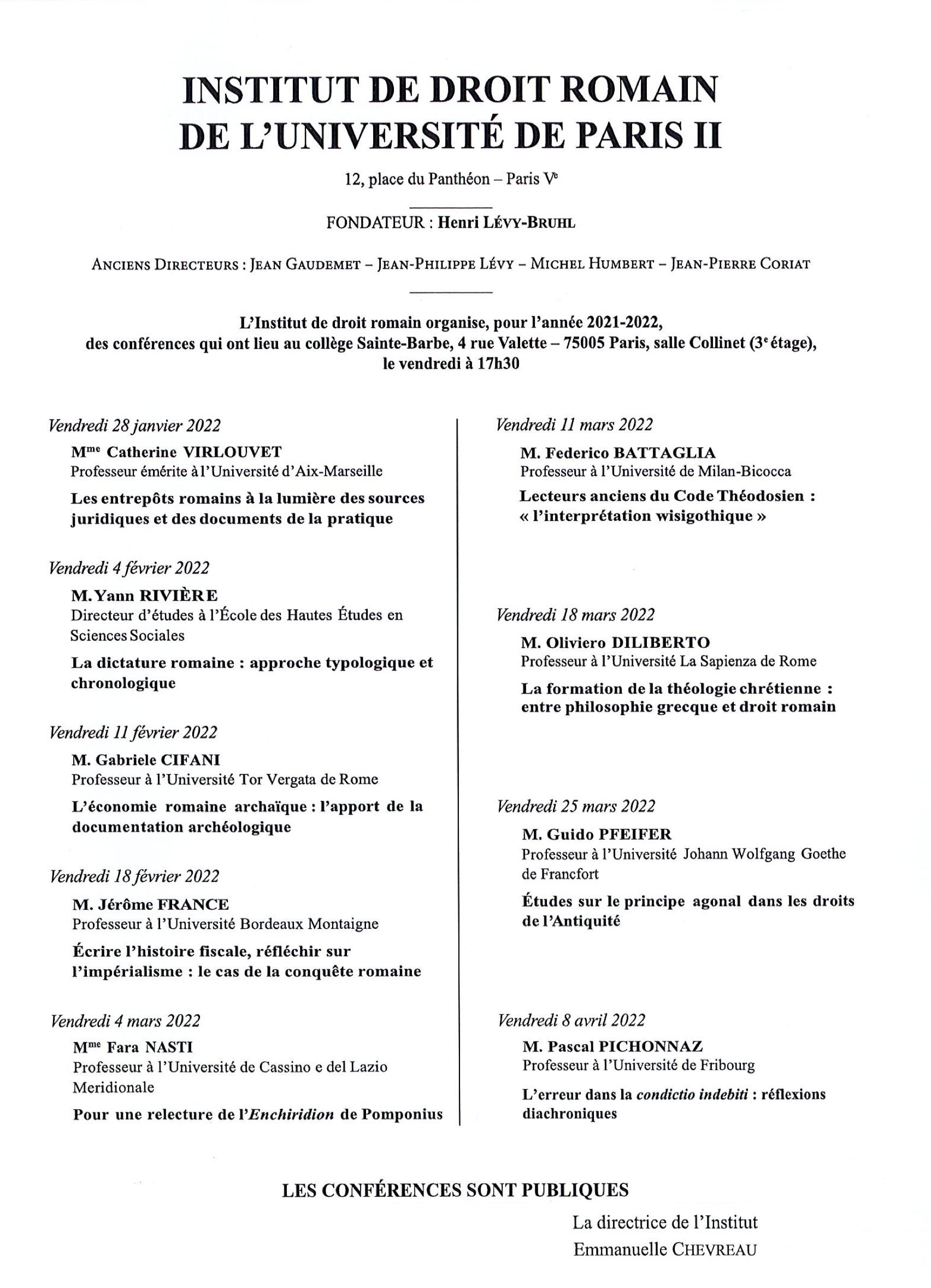 Programme des conférences de l'Institut de droit romain (2021-2022)