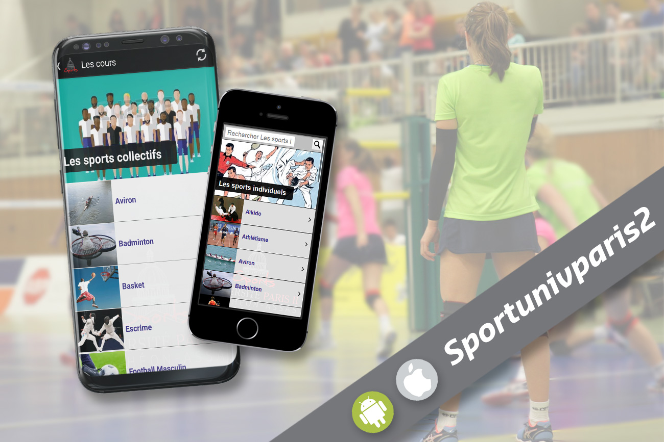 Application Sportunivparis2 disponible en téléchargement sur Google Play et l'Apple Store