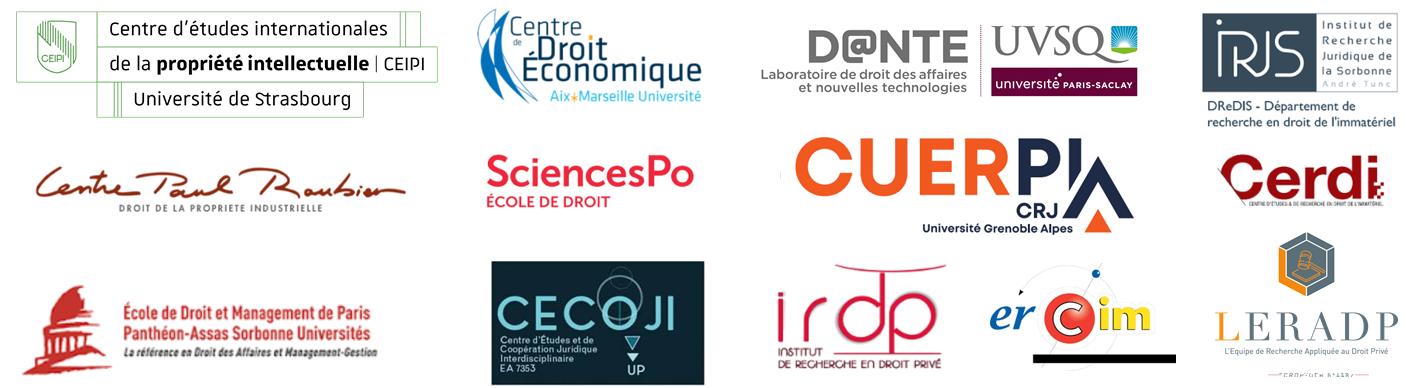 Logo des partenaires de la Journée de la jeune recherche en propriété intellectuelle