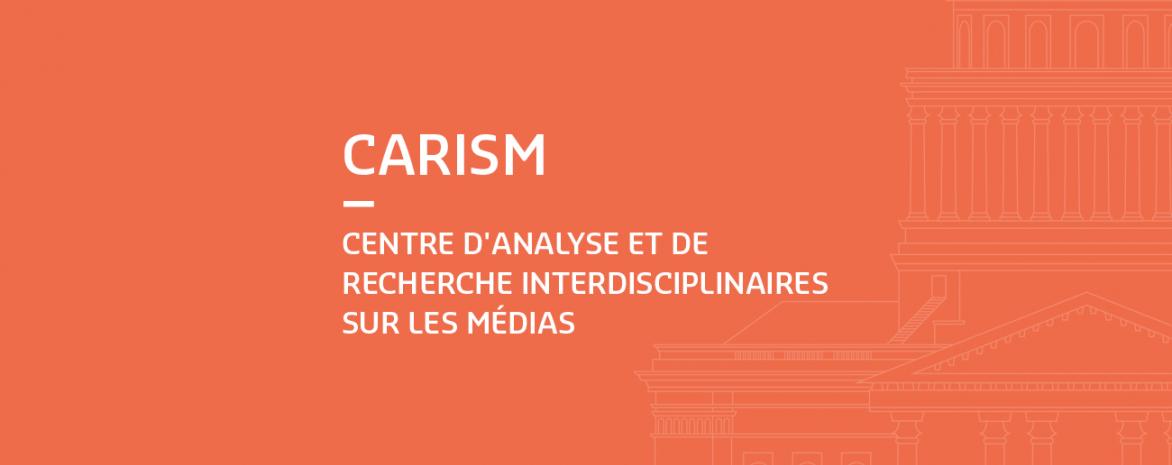 Infographie avec le logo du CARISM et le Panthéon en filigrane