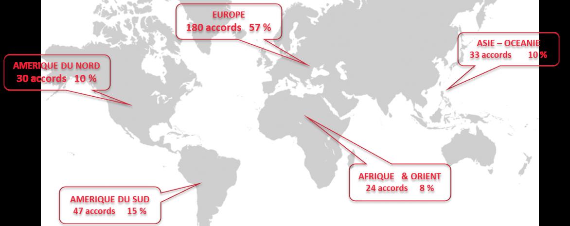 Répartition sur le globe des universités partenaires