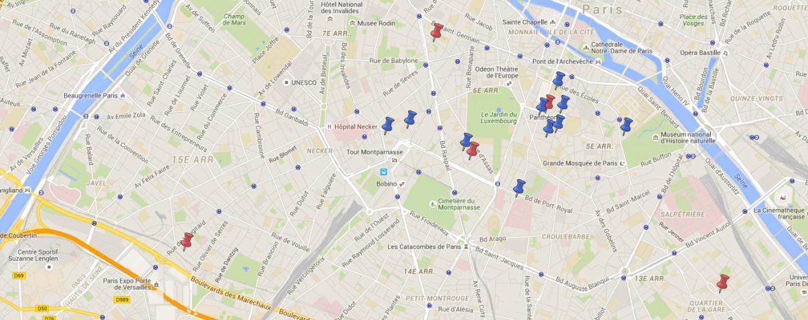 Plan de Paris avec implantation des établissements de l'université Paris 2 Panthéon-Assas