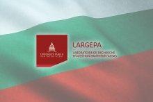 Montage photographique avec le drapeau de la Bulgarie et le logo du LARGEPA