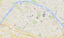 Carte de Paris avec les implantations de  notre université