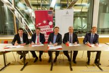 Jean-Michel BEACCO, Philippe LAULANIE, Yves POILANE, Guillaume LEYTE et Tony BLANCO lors de la Signature de la convention de la Chaire Finance digitale le 11 mars 2019